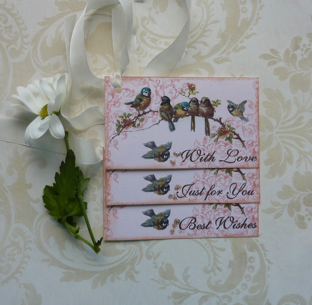 GIFT TAGS , vintage-style ' Gentle Birdsong '( set of 3) ' .ready to ship...