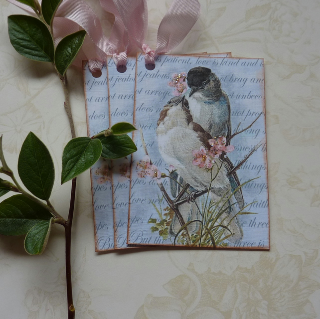 GIFT TAGS . Vintage style.' Lovebirds '( set of 3) '..ready to ship...