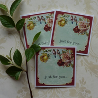 GIFT TAGS, vintage -style . 'Roses and birds  '( set of 3) ....ready to ship...