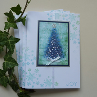 CHRISTMAS CARDS  'Blue Christmas' (4 x  large )   ...ready to ship...