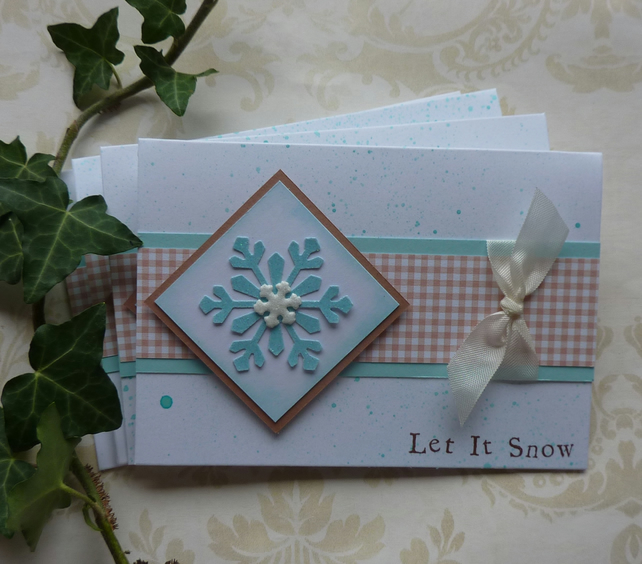 CHRISTMAS CARDS, pack of 4 , ' Let It Snow ' ....ready to ship..