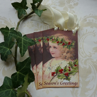 CHRISTMAS GIFT TAGS ( set of 3) ' Little Miss Holly ' . Vintage-style.