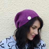 SLOUCH BEANIE . Merino ,Camel  blend . ' Plum Pudding  ' ...ready to ship.