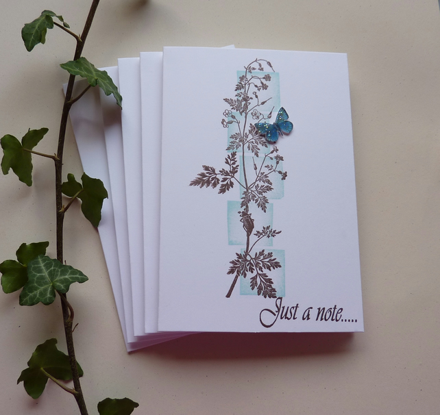 NOTECARDS ( pack of 5 , 1 design ) .  'Hedgerow Flora ' ...ready to ship .....