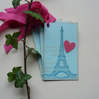 GIFT TAGS  ' A Paris Romance '( set of 3) ..ready to ship...