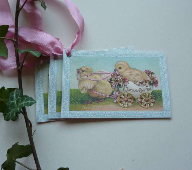 GIFT TAGS , vintage-style. ' A Joyful Easter  '( set of 3) ' .ready to ship...
