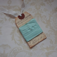 VINTAGE style  ribbon  ( silky seam binding) 'Duck Egg' 4yds  ....