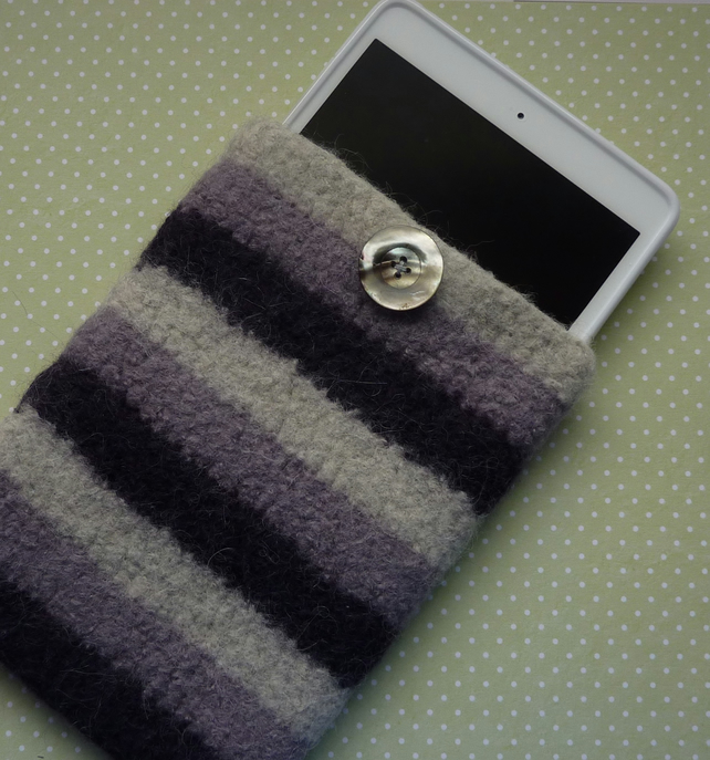 SALE....FELTED cover ,cosy , sleeve for i pad mini.  Purple stripes.