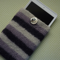 SALE....FELTED cover ,cosy , sleeve for i pad mini, kindle etc.  Purple stripes.