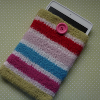 SALE....FELTED cover ,cosy , sleeve for i pad mini.  Summer stripes.
