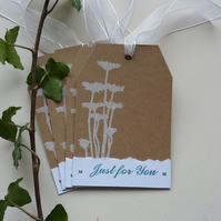 GIFT TAGS ' Flower Silhouette'  ( set of 4 , 1 design ) ..ready to ship...