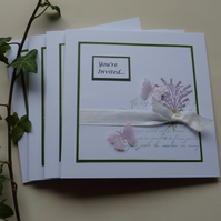 INVITATIONS , cards ( pack of 4  ) 'Lovely Lavender  ' ...ready to ship..