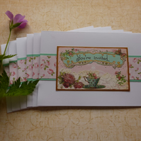INVITATIONS , cards ( pack of 6 ) ' Vintage Rose.  ' ...ready to ship .....