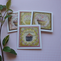 GIFT TAGS , vintage-style. ' Cupcakes '( set of 4)...ready to ship...