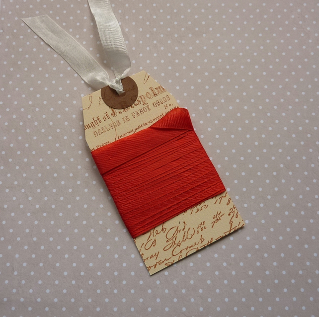 VINTAGE style  ribbon ( silky seam binding) ' Christmas Red ' 4yds  ....