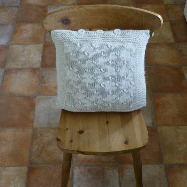 CUSHION . ALPACA and wool blend. ' Buttermilk ' . Knitted... Ready to ship..