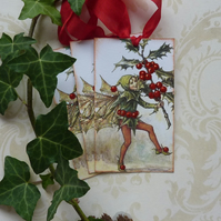 CHRISTMAS GIFT  TAGS  ( set of 3 ) 'Holly Flower Fairy'... ready to ship..