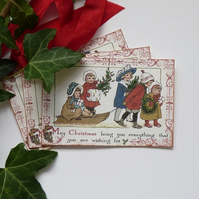 CHRISTMAS GIFT TAGS ( set of 3) ' Bringing gifts '..ready to ship...