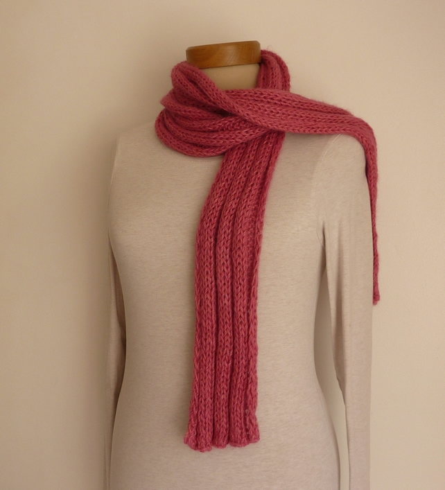 SALE ....SKINNY -RIB SCARF . Alpaca blend . ' Visions of Sugarplums'.
