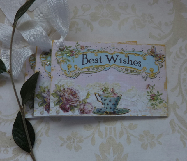 GIFT TAGS .Vintage -style  ' Afternoon Tea '( set of 3) ' .ready to ship...