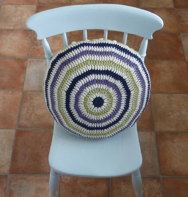 SALE .CUSHION  .Alpaca and wool blend . Super -soft . Crochet. ' Going Boho' ...