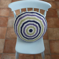 CUSHION  .Alpaca and wool blend . Super -soft . Crochet. ' Going Boho' ...