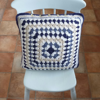 CUSHION . Alpaca and wool blend . Super -soft . Crochet. ' Shipshape' .