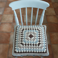 CUSHION  . Alpaca and wool blend. Super -soft . Crochet. ' Shoreline' .