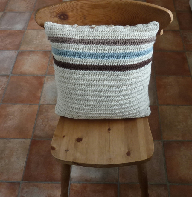 CUSHION . Alpaca and wool blend. Super -soft. Crochet .'Driftwood'.