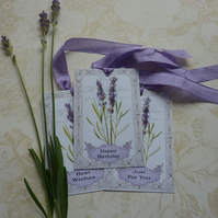 GIFT TAGS ( set of 3) Vintage-style.' Lovely Lavender' ...ready to ship...