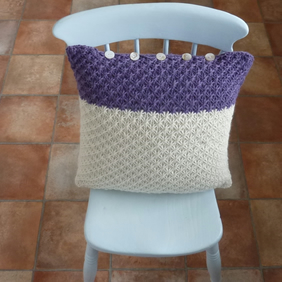 CUSHION . Alpaca and wool blend. Super -soft.  Knitted. ' Moorland Heather'.