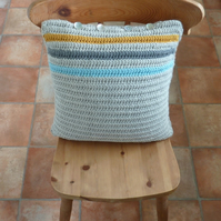 CUSHION . Alpaca and wool . Grey, mustard, blue . Crochet .' Chelsea'.