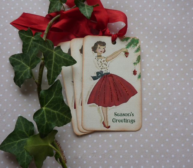 CHRISTMAS GIFT TAGS ( set of 3) ' Retro Greetings'..ready to ship...