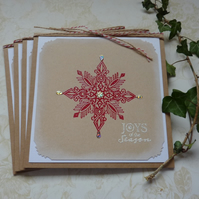 CHRISTMAS CARDS. Scandi-style. ' Joys of the Season' ( pack of 4) .
