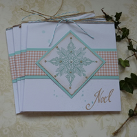 CHRISTMAS CARDS. Scandi-style. ' Noel ' ( pack of 4) .Elegant snowflake..