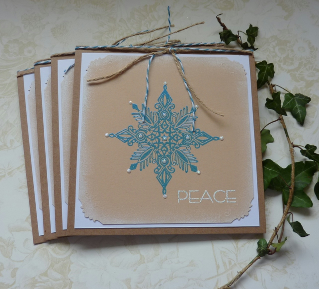 CHRISTMAS CARDS. Scandi-style. ' Peace' ( pack of 4) .Elegant Snowflake...