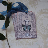 GIFT TAGS  ( set of 3 ) .Vintage -style  ' Parisian Blue '..ready to ship