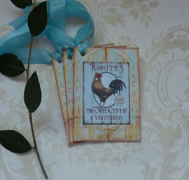 GIFT TAGS  ( set of 3 ) .Vintage -style  ' Farm Produce '..ready to ship