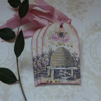 GIFT TAGS  ( set of 3 ) .Vintage -style  ' Bee Skep '..ready to ship