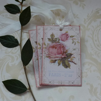 GIFT TAGS  ( set of 3 ) .Vintage -style  'Paris Rose '..ready to ship