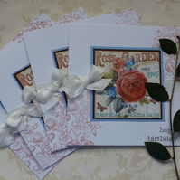 GREETINGS CARDS   ' English Rose'  ( pack of 4  ) mixed greetings.