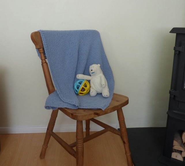 PRAM, COT blanket .. Luxury Cashmere blend. Knitted. ' Little Boy Blue' .