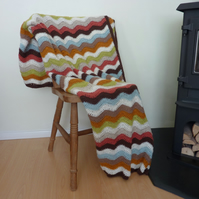 BLANKET , throw  ( large).  ' Landscape '. Ripples .Crochet . ..ready to ship ..