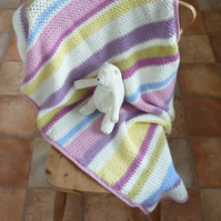 CHILD'S BLANKET.  Cot, pram. Merino blend .' Bonbon' . Stripes. Crochet.