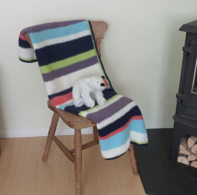 BLANKET, throw .Cot -bed, sofa . Merino blend .' Beach House' .Stripes. Crochet.