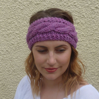 ALPACA blend earwarmers. Headband 'Wild Heather'. Super soft....ready to ship..