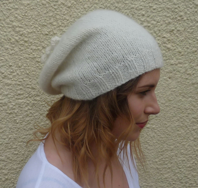 SLOUCH BEANIE . Baby alpaca blend . Ladies hat . 'Buttercream' ...ready to ship.