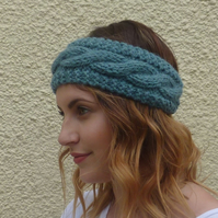 ALPACA blend earwarmers. Headband ' Stormy Sea'. Super soft....ready to ship..