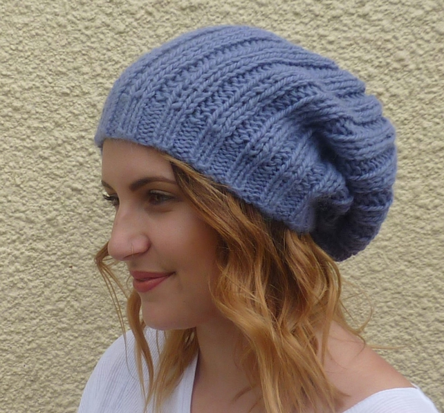 100% BABY ALPACA slouch hat, ' Lavender Blue' ..ready to ship...