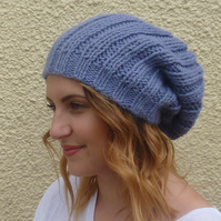 100% BABY ALPACA slouch hat. M-L .' Lavender Blue' ..ready to ship...